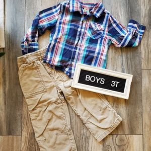 Boys Outfit | Corduroy Pants & Plaid Dress Shirt